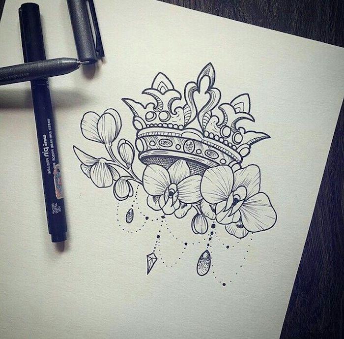 Couronne lotus royal, dessin tatouage lotus et orchidées, petits tatouages qui ont une grande signification