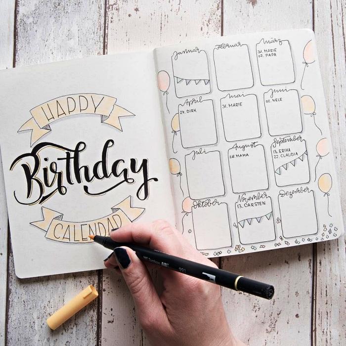 idées deco bullet journal, calendrier des anniversaires avec un joli lettrage en tête réalisé à la main