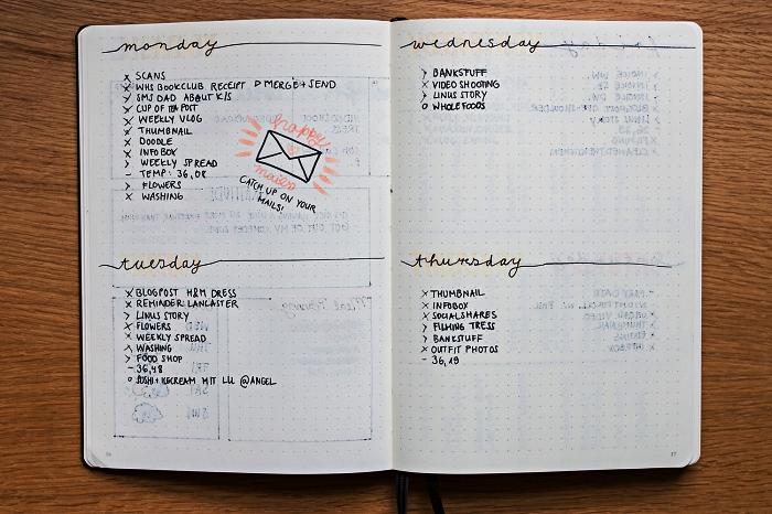 idée bullet journal personnalisé avec page double consacrée à l'agenda hebdomadaire sous forme d'une simple énumérations des tâches à accomplir