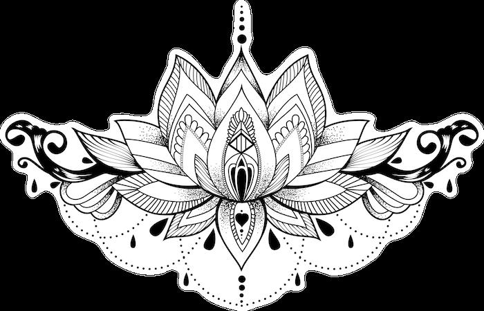Idée tatouage symbole à grande signification, dessin lotus avec ornamentation, la meilleure idée de tatouage floral