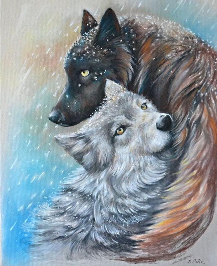 loup protecteur, dessin portrait de louve blanche et de louve gris et blanc sur fond marronm blanc et bleu