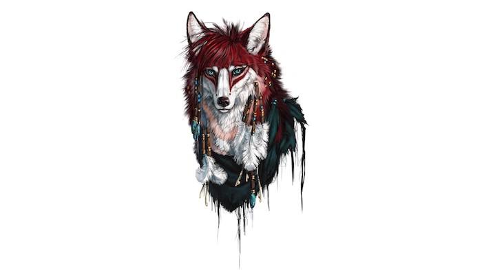 quel dessin loup tribal, idée de louve tribal, symbole de la force, aux parement amérindiens
