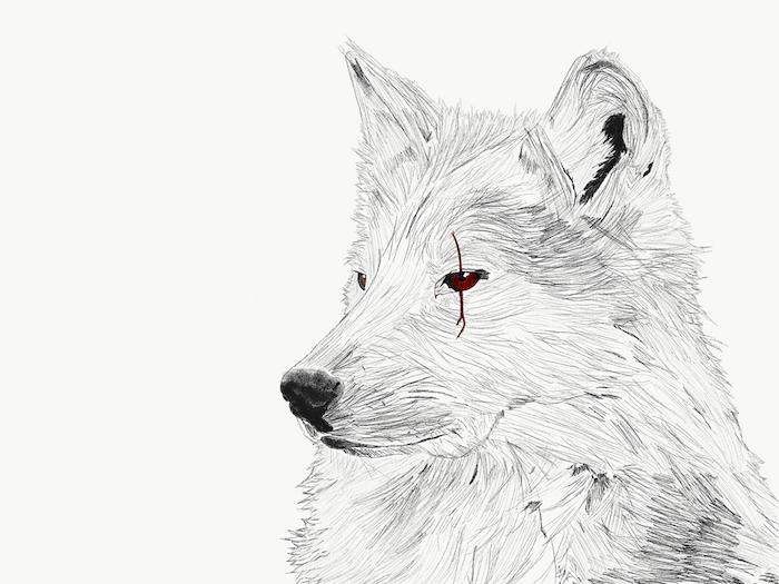 loup atrice symbole de la guerre et la férocité, dessiner un dessin graphique avec touche de rouge dans les yeux et une marque trait rouge
