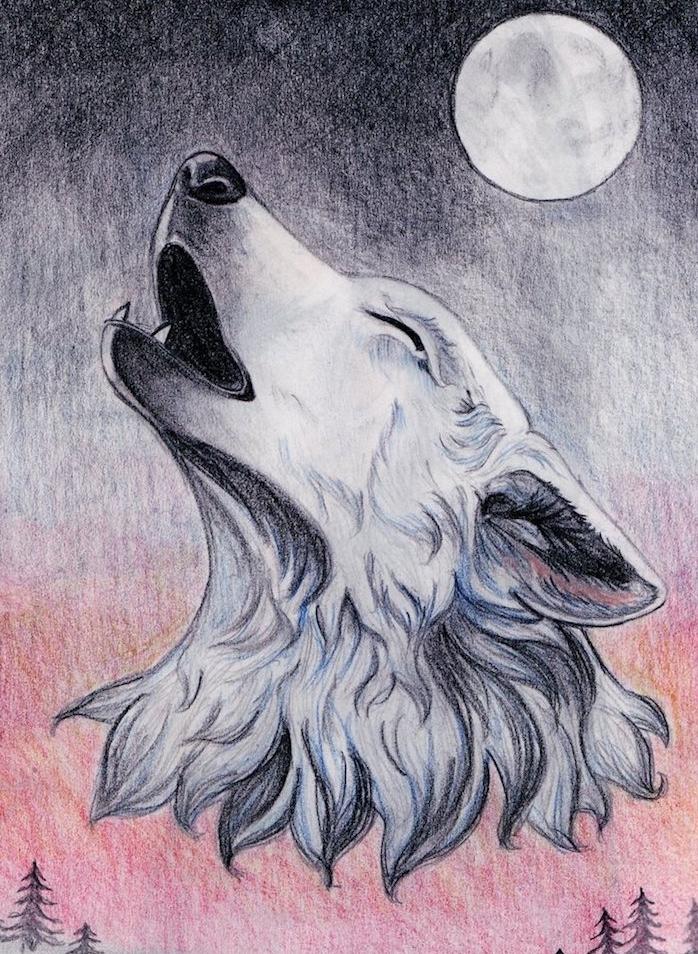 louve polaire à la tête blanche en train de hurler au clair de lune, fond demi graphique demi coloré de tons rougeatres