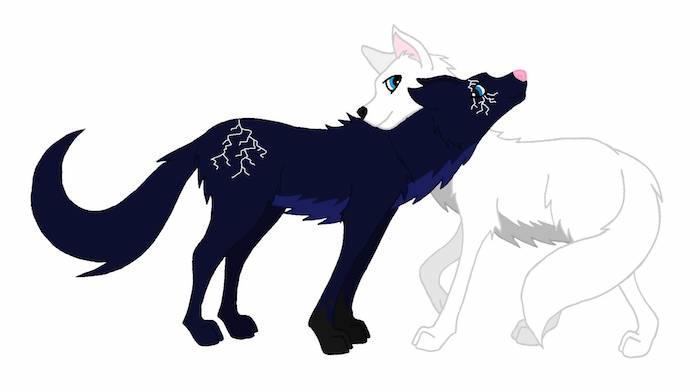 symbole de la fidélité, dessin enfant de louve blanche et loup noir, in et yan, idee loup symbolique