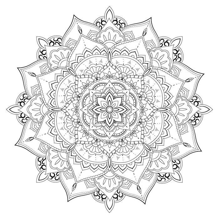Mandala dessin de fleur, tatouage fleur de lotus original à la forme de mandala sans couleur, femme beauté