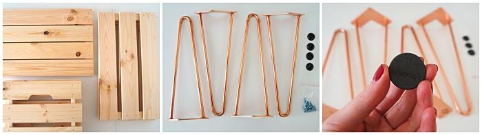 matériel nécessaire pour fabriquer une table d'appoint avec cagette en bois et des pieds épingles en cuivre