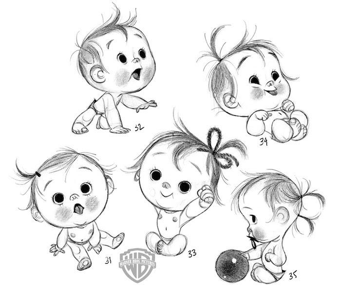 Bébé de dessin animé adorable, crayon sur papier photo de dessin facile, comment décalquer une image