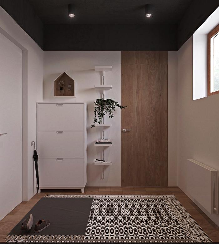 aménagement entrée scandinave au plafond peint en gris foncé équipée d'un meuble à chaussures et d'une étagère murale