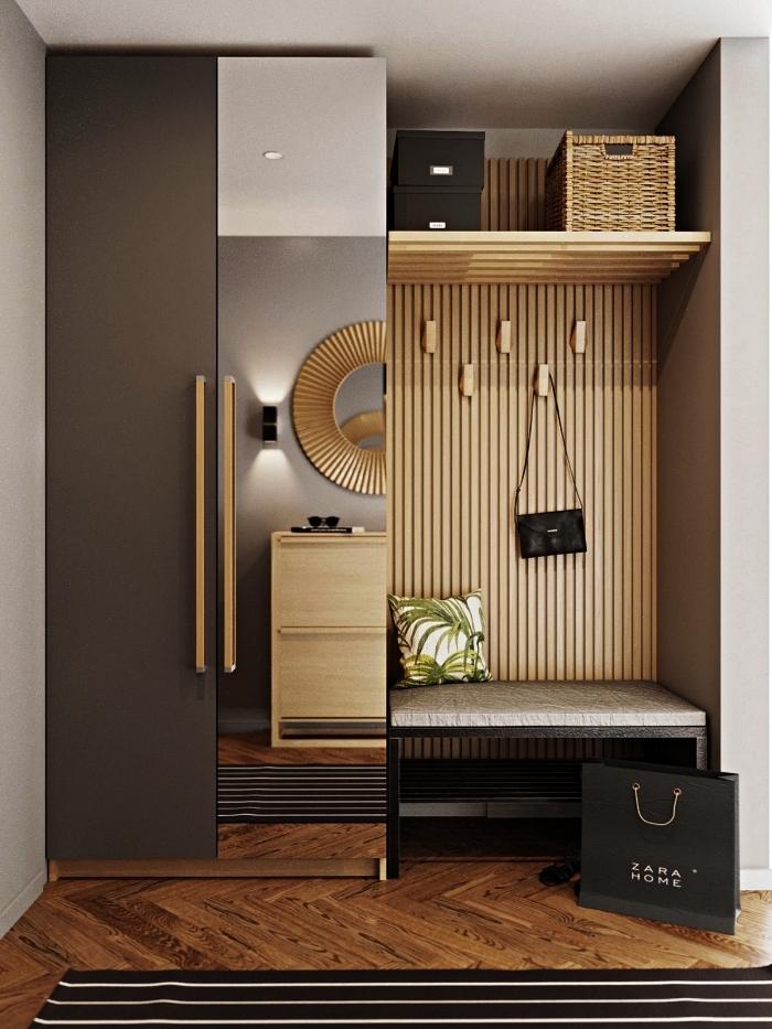 penderie entrée avec banc intégré pour l'aménagement d'une petite entrée moderne, placard d'entrée à porte miroir
