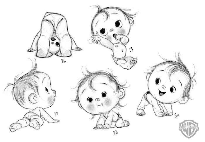 Caractère Disney bébé adorable, apprendre a dessiner facilement, dessin tatouage facile