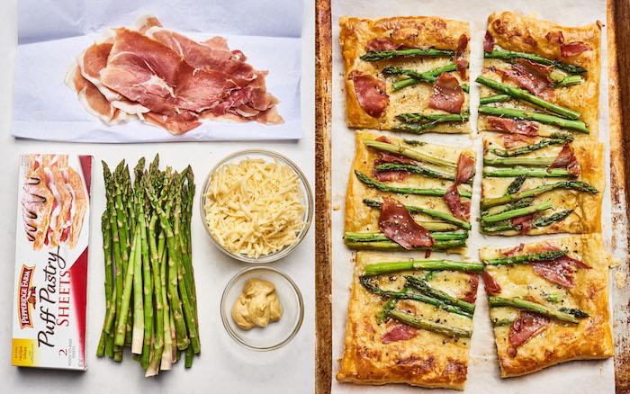 que faire avec asperges, prosciutto, fromage et moutarde, recette tarte salée, apero dinatoire pour 10 personnes