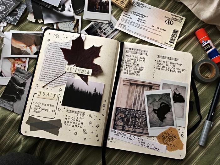 idée pour customiser son agenda avec la technique du scrapbooking, une double-page dédiée au planning mensuel décorée d'illustrations découpées