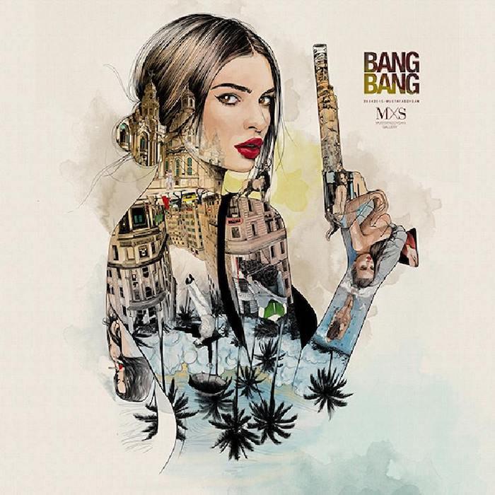 Femme tueur dessin portrait double exposition, ville rues et palmes, apprendre a dessiner un visage, dessin au fusain