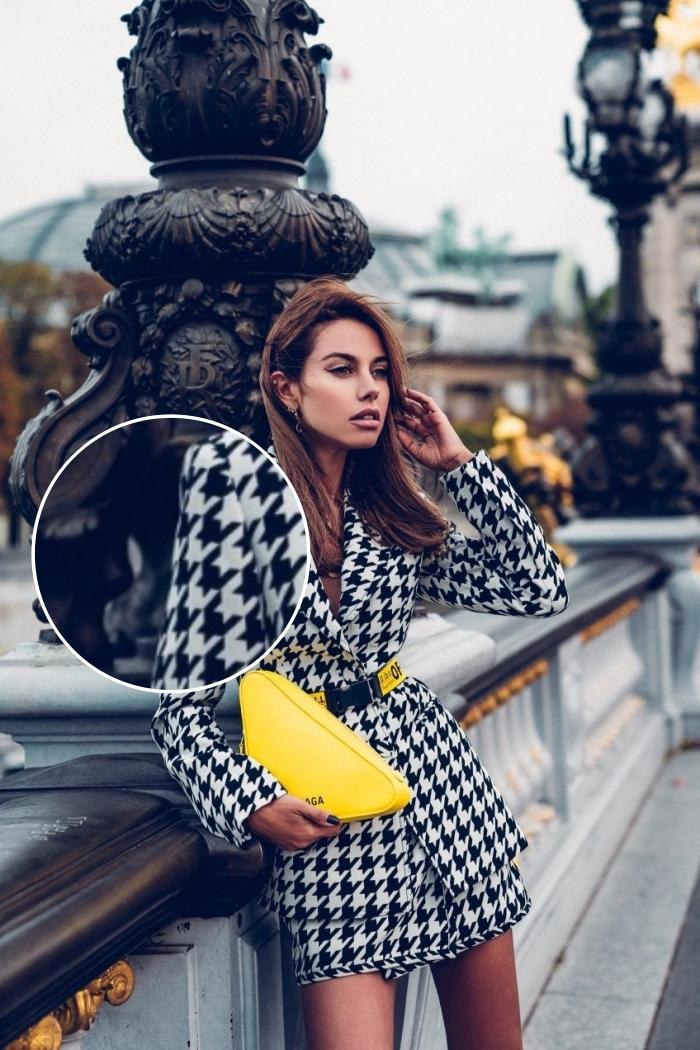 idée tenue femme automne 2019, modèle tailleur femme avec jupe taille haute courte et blazer aux imprimés blanc et noir