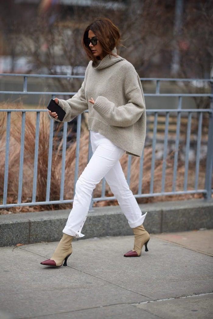 Beige et blanc tenue mode hiver 2019 2020, tenue tendance automne 2019