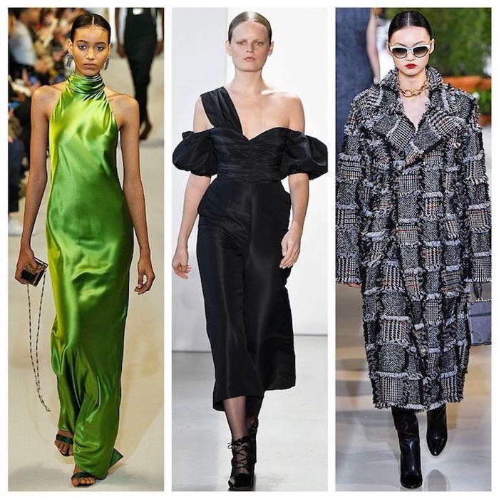 Femme tendance hiver 2019 2020 femme look hiver, tenue chic femme, robe satin vert et robe noire