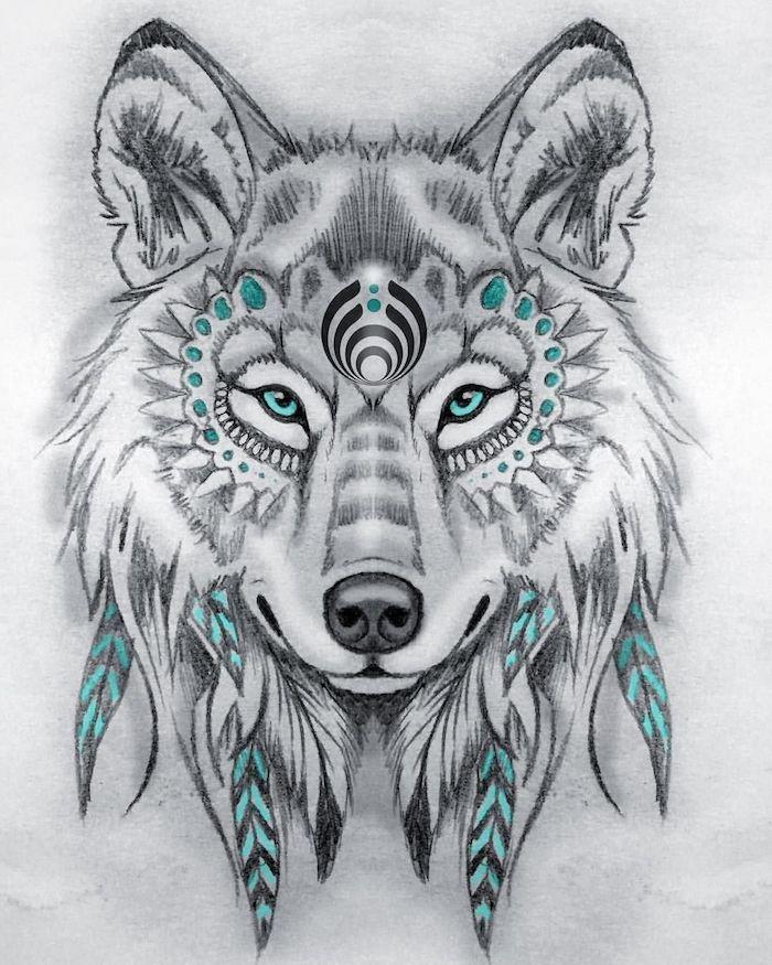 dessin loup tribal au crayons, modele dessin noir et blanc avec des touches de bleu, symbole amerindien