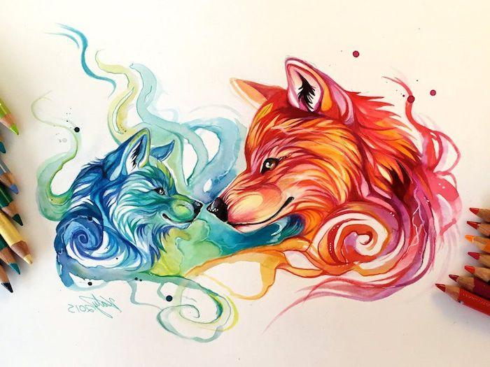 loup coloriage dessin aux crayons de couleur, T6ete de petit loup vert et bleu et mère louve en orange et rouge