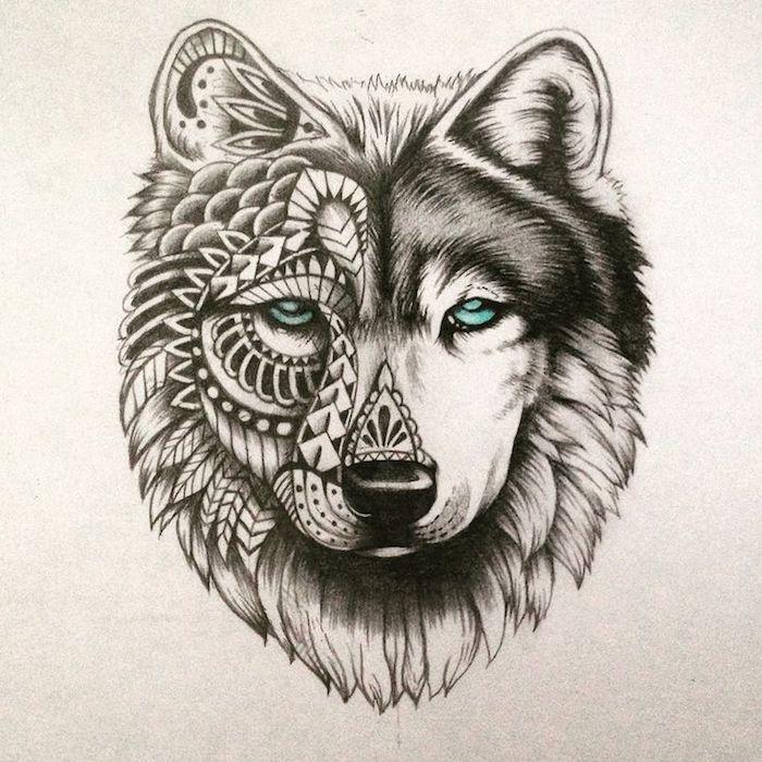 tête de loup noir et blanc avec demi face aux symbole amérindiens, accents mandala, des yeux colorés en vert