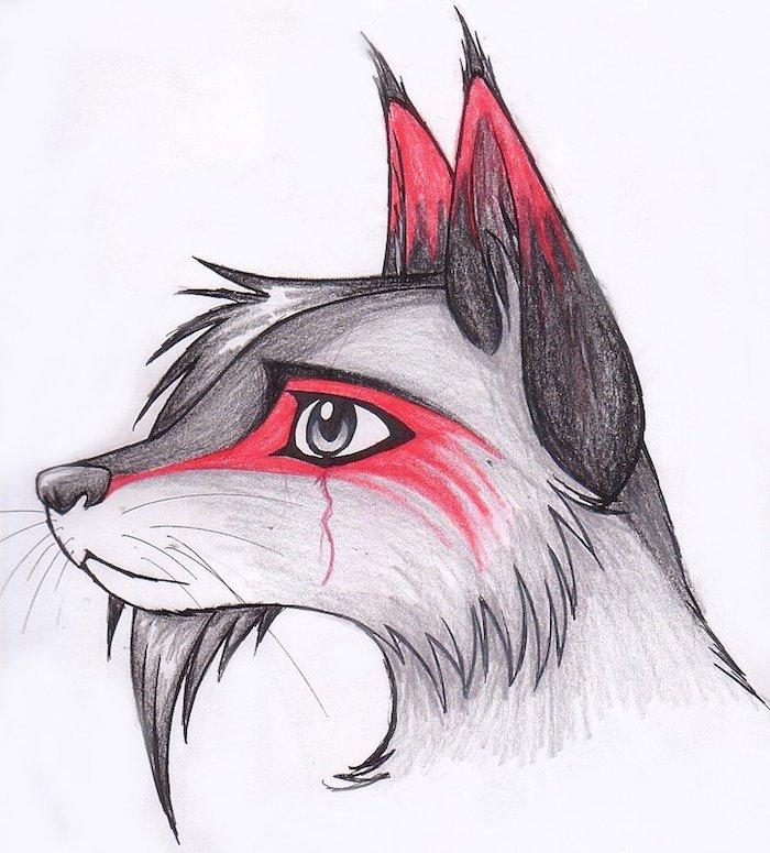 dessin de louve triste, tete de louve avec une mèche crinière et du rouge autour les oreilles et les yeux