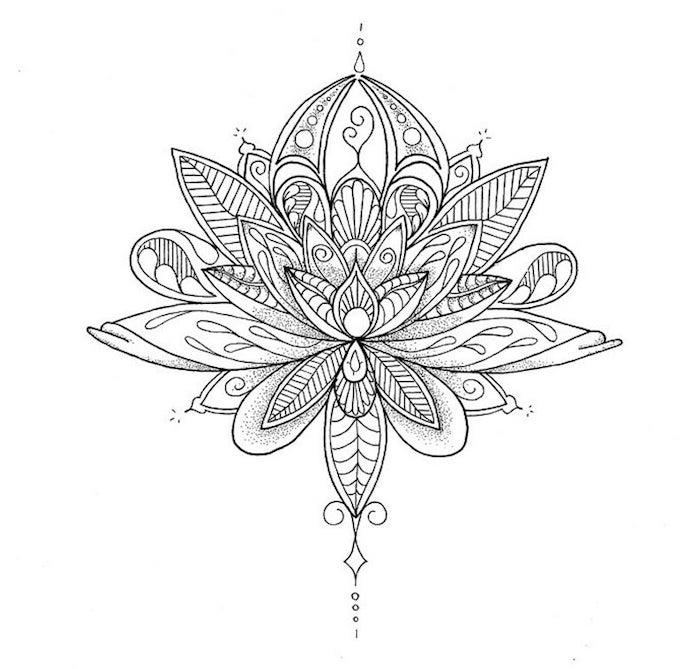 Motif fleurie tatouage femme epaule, tatouage fleur de lotus dessin, originale idée dessin