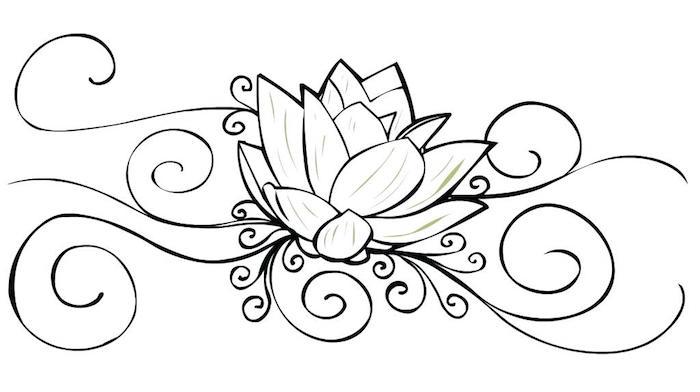 Motif courbu lignes et fleur tatouage original, image inspiration tatouages fleur de lotus