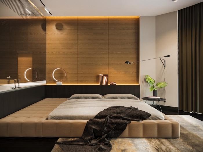décoration chambre adulte luxueuse en couleurs neutres, revêtement partie de mur en lambris bois large avec éclairage led