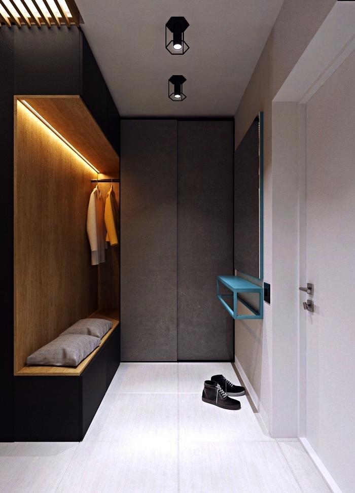aménagement hall entrée avec banquette entrée dans une niche en bois, hall d'entrée en gris, blanc et bois