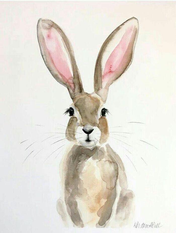 Adorable peinture à l'aquarelle de lapin oreilles hautes, comment bien dessiner une fille, dessins à reproduire