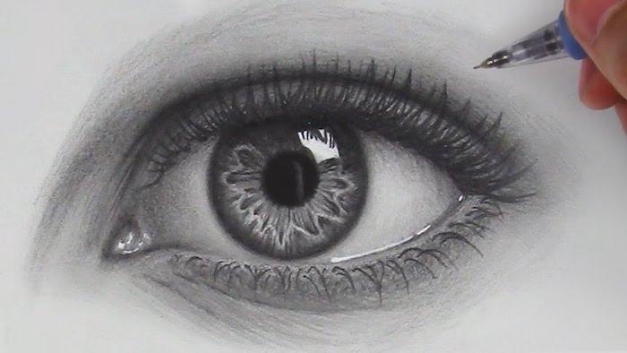 Oeil de femme dessin facile a reproduire par etape, comment bien dessiner avec un crayon noir