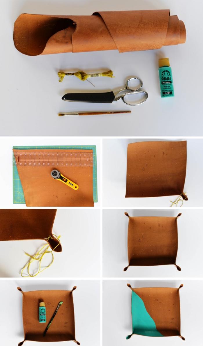 pas à pas pour fabriquer un accessoire de bureau élégant, modèle rangement fourniture de bois en forme assiette bicolore