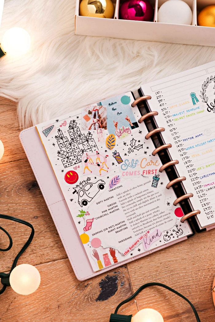 comment faire un bullet journal spécial vacances, idée pour créer une page dédiée aux listes des cadeaux et aux tâches à accomplir pour les fêtes