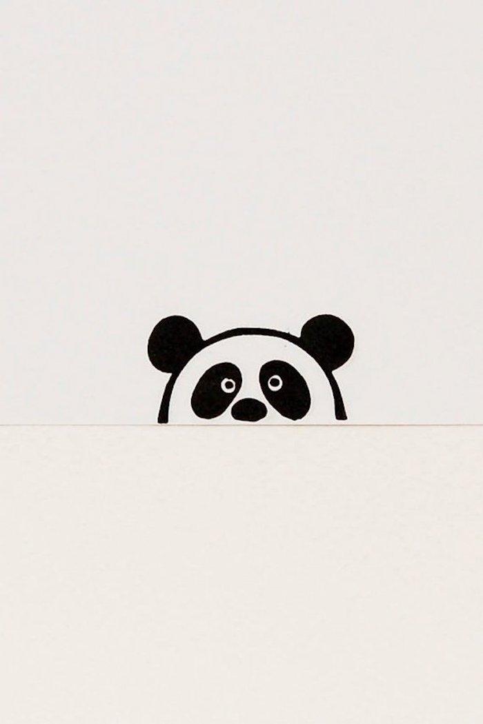 Les oreilles de l'ourson panda qui regarde caché derrière une autre page, comment dessiner des dessin, dessins à reproduire