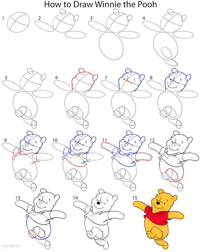 Winnie l'ourson coloré dessin simple, pas à pas comment dessiner pour débutant, exemple de beau dessin