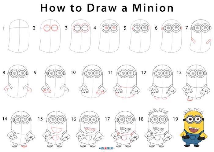 Étapes pour dessiner un minion jaune, exemple de dessin, images facile à dessiner pas à pas