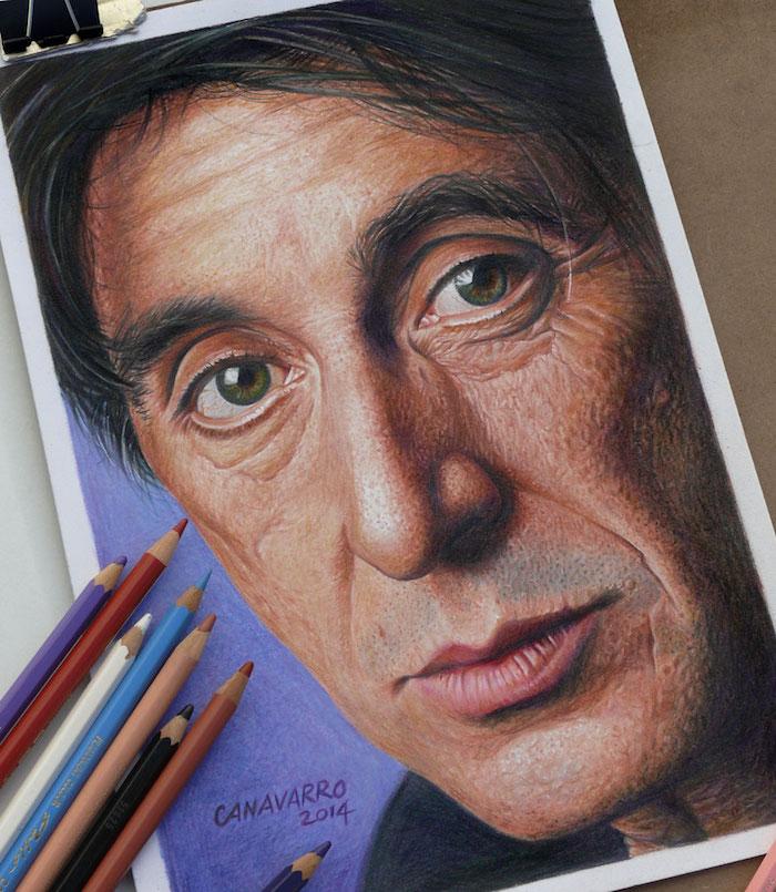 Al Pacino dessin portrait, illusion d optique dessin, beau dessin réaliste