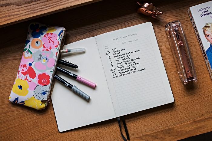 exemple de page bullet journal index avec une listes des symboles à utiliser dans l'organisation de ses journées