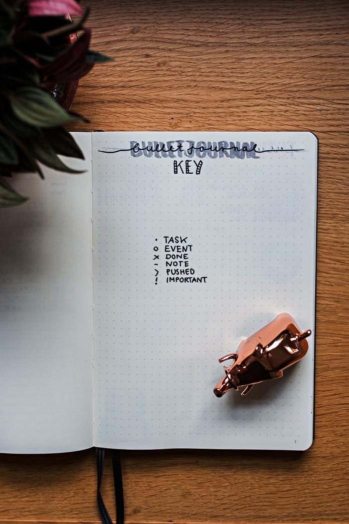 idée de mise en page bullet journal index avec système de puces, carnet pointillé transformé en bullet journal