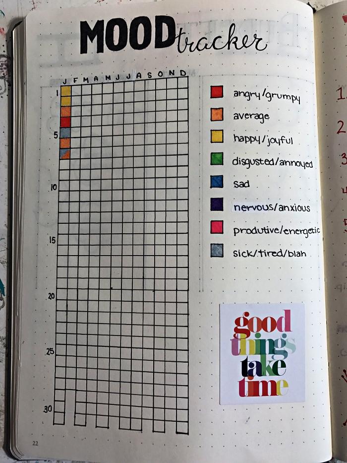 bullet journal tracker d'humeur avec code couleur, une grille pour suivre ses humeurs pendant toute l'année
