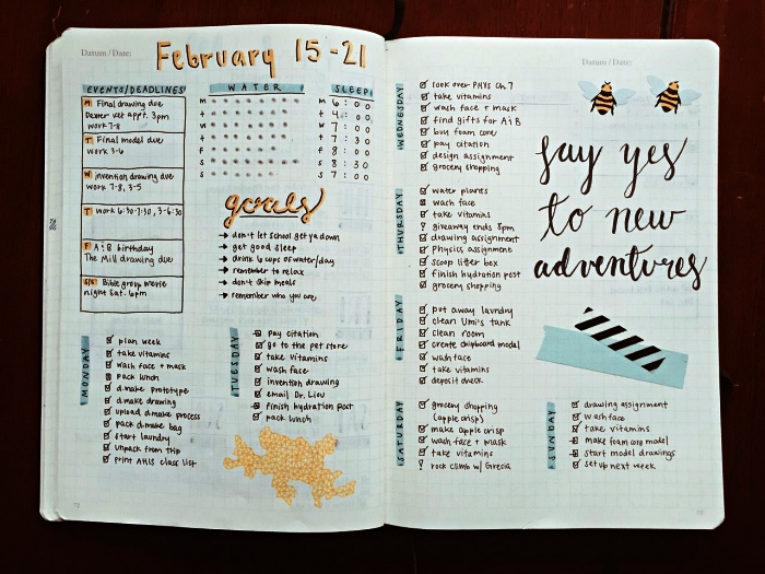 planning hebdomadaire bullet journal semaine, tableau des événements, calendrier mensuel et listes de tâches à venir