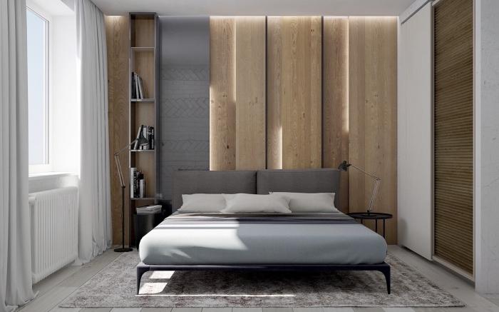comment aménager une chambre adulte moderne de style minimaliste en blanc et gris, idée panneau mural décoratif intérieur