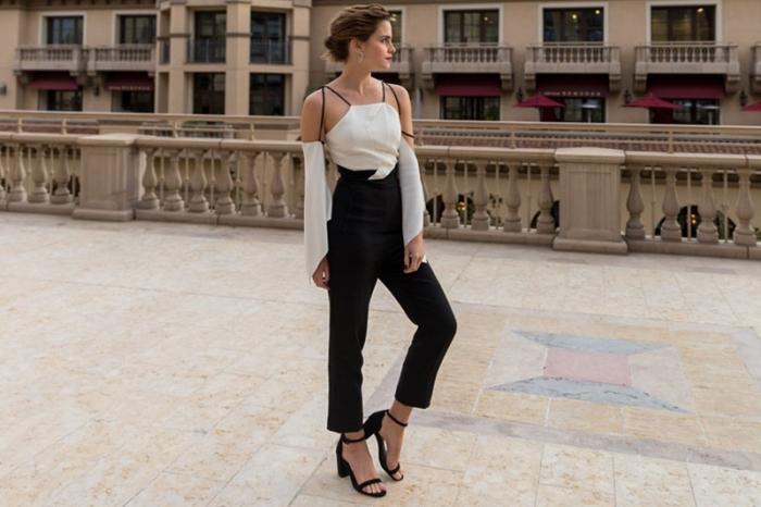 exemple tenue en blanc et noir élégante pour femme invitée, idée tenue de fete tenue pour assister à un mariage