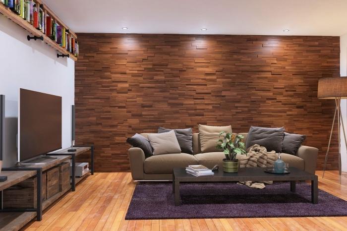 idée panneau mural décoratif intérieur, comment aménager un salon moderne aux murs blancs avec mur parement bois
