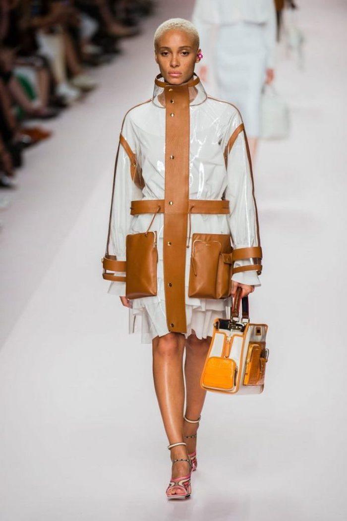 Mode femme manteau transparente et robe blanche en dessous, tenue classe femme, quelles sont les meilleures tendances 2020