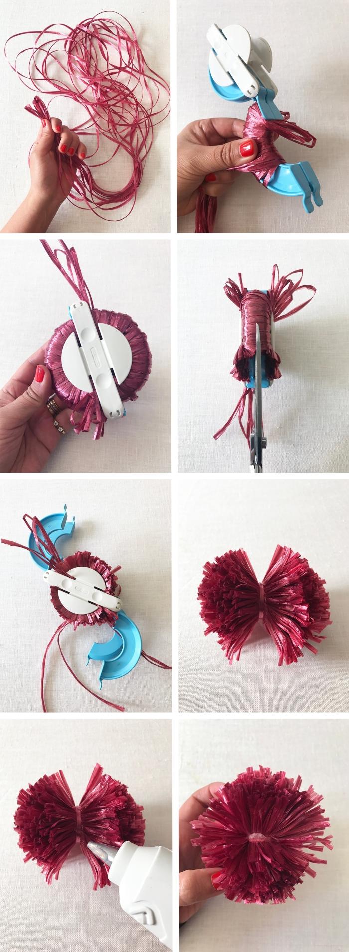 exemple comment faire un pompon, tutoriel fabrication pompons avec appareil, que faire avec des pompons