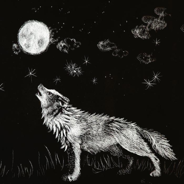 dessin au fusain graphique, silhouette de loup en blanc sur fond noir qui hurle au clair de lune, paysage nocturne