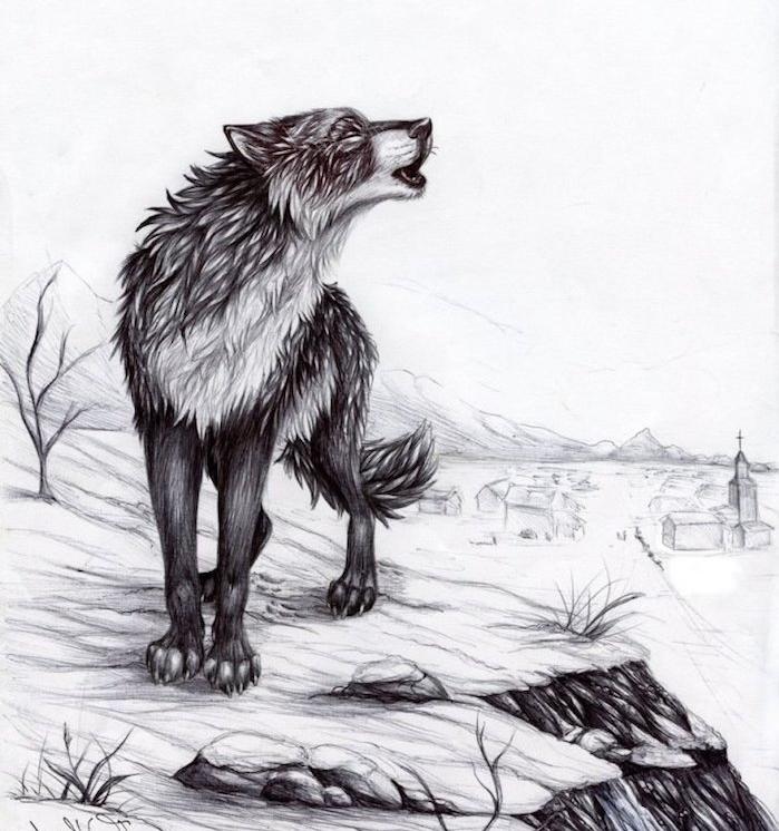 animal loup qui hurle, dessin aux contours noirs sur fond blanc avec des batiments en perspective