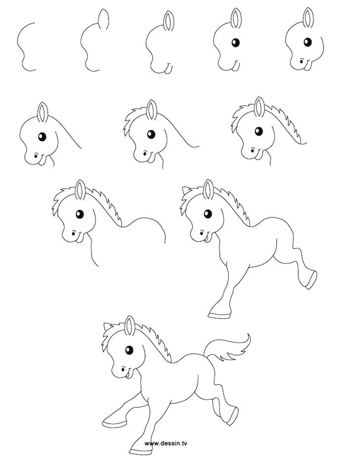 Bébé cheval kawaii dessin adorable, comment décalquer une image, dessin très beau