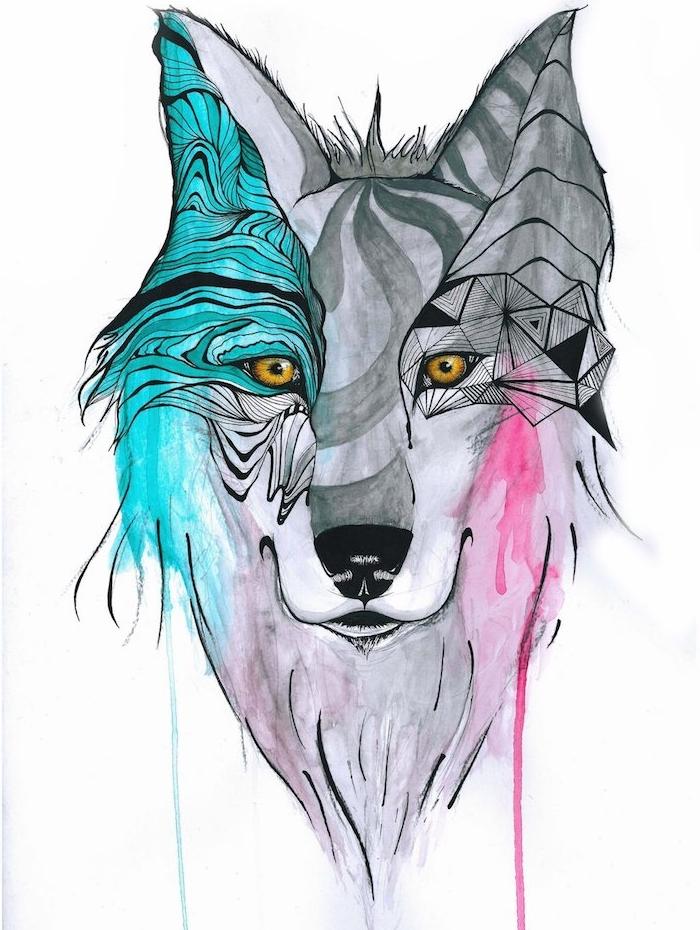 tete de loup à des figures géométriques dessinées sur la face et des taches de peinture diluée, tête grise aux accents noirs